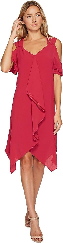 Adrianna Papell - Gauzy Crepe Corkscrew Drape Dress