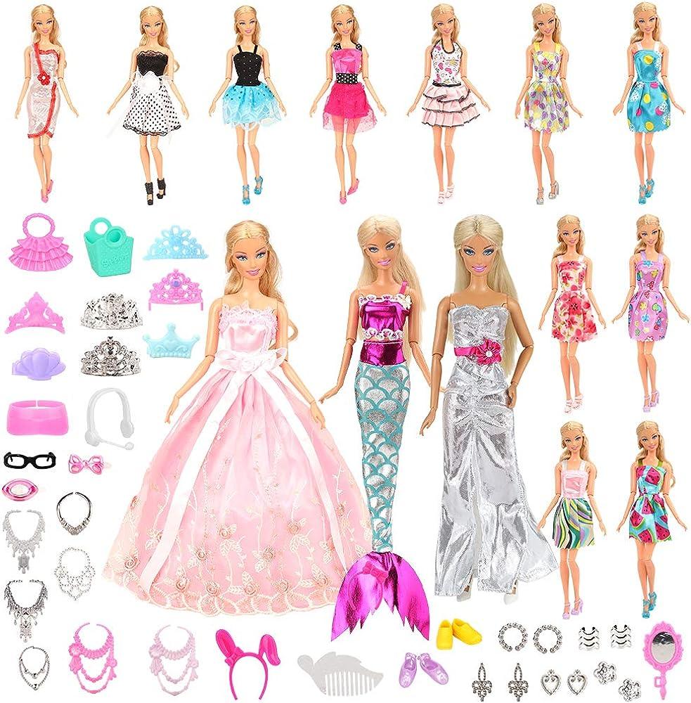 Miunana ,55 accessori,vestiti,scarpe per bambole,15 abiti vestiti + 40 accessori