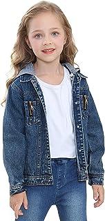 PUTUO Giacca Jeans Bambina Giacca Denim per Ragazze con con Cappuccio, Giubbotto Jeans Bambino Giacca Denim Ragazzi Giubbi...