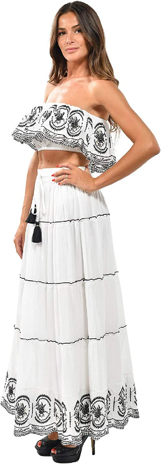 Barok Paris Tiered Embroidered Long Skirt