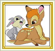 Cross Stitch Kits, Little Deer and Little Rabbit Anime Animals Awesocrafts Easy Patterns Cross Stitching Embroidery Kit Supplies Christmas Gifts, Stamped or Counted (Deer and Rabbit, Counted)