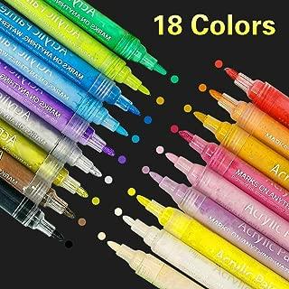 SUPERSUN Rotuladores Pintura Acrilicos Para Tela, 18 Colores Marcadores de Pintura Acrílica para Cerámica, Porcelana, Piedras, Madera, Tejido, Taza, DIY