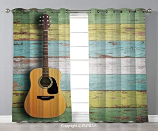 Grommet Blackout Window Curtains Drapes [ Music Decor,Acoustic Guitar on Colorful Painted Aged Wooden Planks Rustic Country Decor,Multicolor ] for Living Room Bedroom Dorm Room Classroom Kitchen Cafe