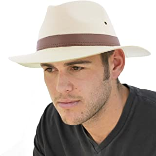 Dannii Matthews Stylish Men's Cotton Fedora with Brown Faux Leather Band, Natural