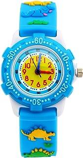 Mixe Waterproof 3D Cute Cartoon Digital Silicone Wristwatches Time Teacher Gift for Little Girls Boys Kids Children (Blue Dinosaur)