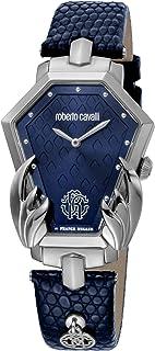 ROBERTO CAVALLI Women's Stainless Steel Swiss Quartz Watch with Leather Calfskin Strap, Blue, 20 (Model: RV1L095L0026)