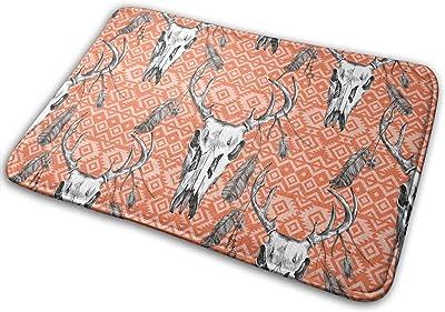 Deer Skull Feathers Carpet Non-Slip Welcome Front Doormat Entryway Carpet Washable Outdoor Indoor Mat Room Rug 15.7 X 23.6 inch