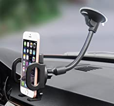 Car Mount, Hana Windshield Flexible Long Arm Car Phone Mount with One Button Design and Three Side Grips Compatible iPhone Xs MAX XS XR X 8 7 7P 6s Galaxy S10 S9 S8 Edge S7 S6 S5 Google LG Sony Nokia