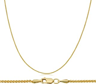 14K Solid Gold 1MM Wheat Chain Necklace- 14K Wheat Chain, Spiga Chain Necklace, Gold Round Wheat Chain, Thin Gold Chain