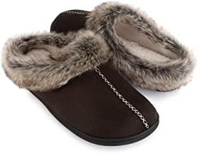 ULTRAIDEAS Men's Cozy Memory Foam Slippers with Warm Fleece Lining and Fuzzy Faux Fur Collar, Casual Micro Suede Slip on Clog Mule House Shoes with Indoor Outdoor Anti-Skid Hard Rubber Sole