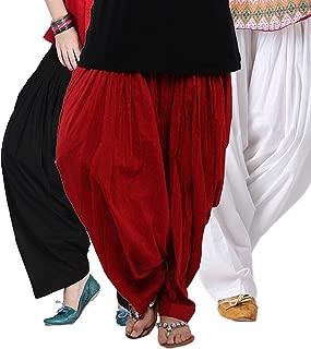 KRISHNA FASHION Women's Cotton Traditional Patiala Salwars (Black, Red and White, Kris-patiala-3) - Pack of 3