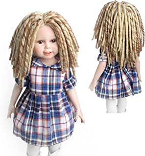 MUZI WIG Fashional African Amerian Afro Brown/Blonde Blended Doll Wigs Dreadlocks for 18