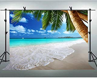 FLASIY Sea Beach Coast Photography Backdrop 10x7FT Coconut Tree Photo Backgrounds for Wedding Party Video Photo Booth Studio Props AYY034
