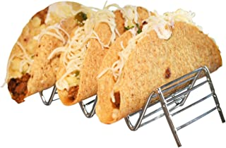 HOME-X Taco Holder, Taco Stand, Taco Rack, Premium Stainless Steel, Rustproof Taco Rack Hold 2 or 3 Hard or Soft Taco Shells Taco Truck Tray Style Oven Safe for Baking, Oven and Dishwasher Safe