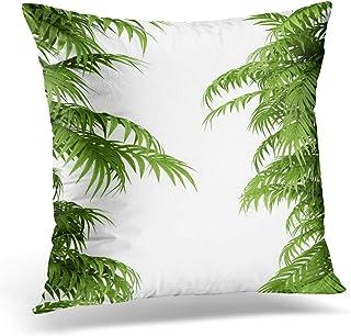 スロー枕カバーグリーングローブ熱帯植物のシダの生垣の竹の枝装飾的な枕ケース家の装飾広場枕カバー、45×45