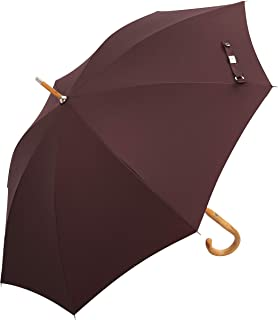 Balios (Designed in Britain Prestige Walking Stick Umbrella—Luxury Chestnut Wood Crook Handle—Bamboo Shaft—Windproof Fiberglass Frame—Auto Open 300T Finest Fabric
