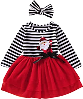 Baby Girl Christmas Valentine's Day Outfits Toddler Girl Santa Tutu Dress Striped Skirts with Headband Playwear Clothes Set