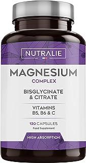 Magnesio con Vitaminas B5, B6 y C | Bisglicinato y Citrato de Magnesio 100% Biodisponible | 120 Cápsulas de 715 mg | Nutralie