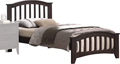 Benjara Mission Style Wooden Full Bed with Arched Slatted Headboard and Footboard, Dark Brown,