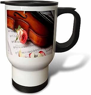 3dRose tm_194904_1 Print of Violin and Rose On Sheet Music-Travel Mug, 14 oz, Stainless Steel, White