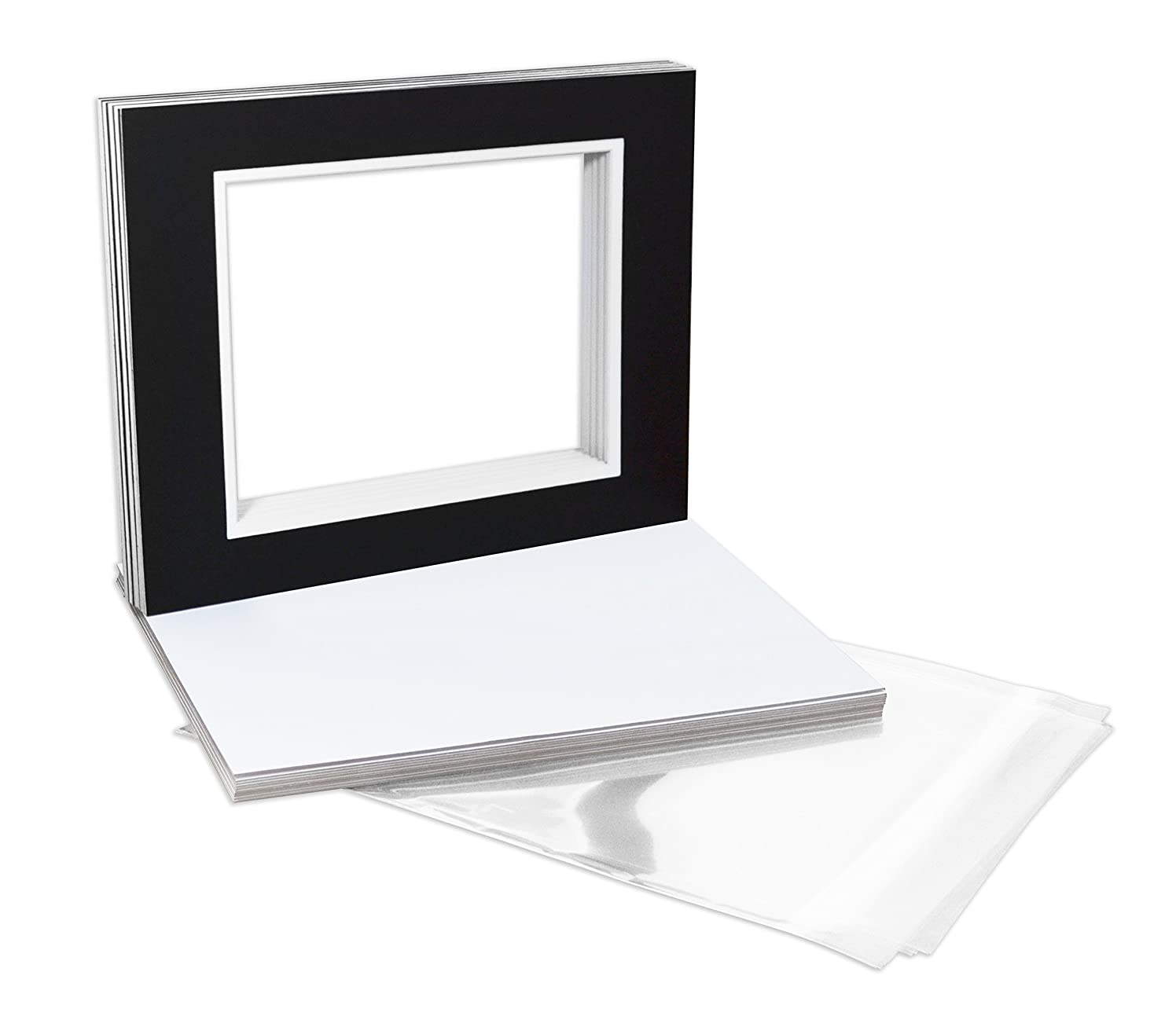 Golden State Art Pack of 10, Double Mats 11x14 Core Bevel Cut for 8x10 Pictures + Backing + Bags, Black Over White