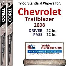 Wiper Blades for 2008 Chevrolet Trailblazer Driver & Passenger Trico Steel Wipers Set of 2 Bundled with Bonus MicroFiber Interior Car Cloth