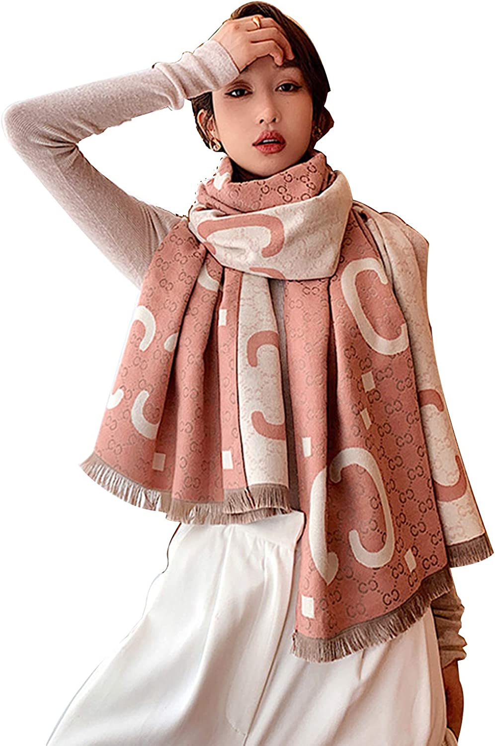 Letters Fashion Warm Double-Sided Cashmere Scarf Lightweight Scarfs for Women Large Soft Shawls and Wraps