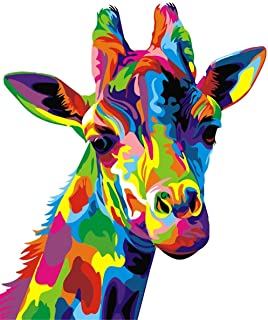 Paint by Numbers for Adult, DIY Paint by Number Kits for Kids Beginner on Canvas Painting, Colourful Giraffe 41cm x 50cm