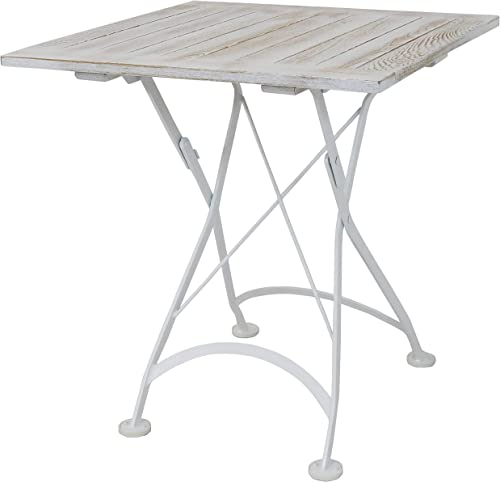 high quality Sunnydaze European Chestnut Wood Folding Square Bistro Dining outlet sale Table - Indoor/Outdoor Table discount for Patio, Kitchen or Dining Room - Foldable for Easy Storage - Antique White - 28 Inches Square outlet sale