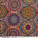 Kt KILOtela Tela de loneta Estampada - Retal de 100 cm Largo x 280 cm Ancho | Mandalas - Multicolor...