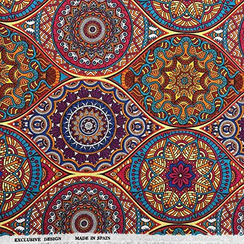 Kt KILOtela Tela de loneta Estampada - Retal de 100 cm Largo x 280 cm Ancho | Mandalas - Multicolor ─ 1 Metro