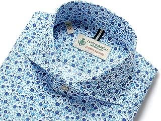 ルイジボレッリ ルイジボレリ LUIGI BORRELLI / 20SS!製品洗いコットンポプリン花柄プリントホリゾンタルカラーシャツ「NA35(9037)」 (ホワイト×ブルー×ネイビー) メンズ
