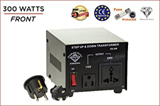 International Diamond Series Dynastar Step Up & Step Down Voltage Converter and Transformer, 110-220 to 220-240 Volts; Heavy Duty, Extra Durable Lifetime Coil, 5-Year-Warranty, 300 Watts