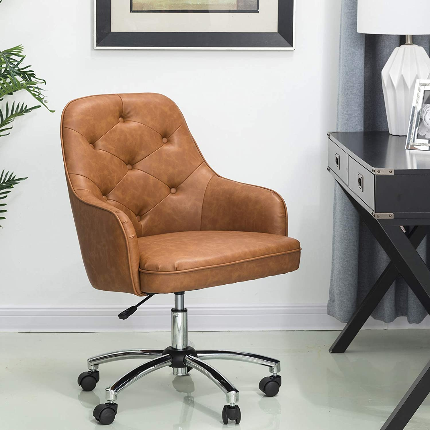 Glitzhome Home Office Chair Adjustable Mid-Back Ergonomic Desk Chair Comfortable Leather Computer Chair with Lumbar Support Modern Rolling Swivel Chair with Armrest, Caramel