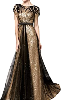 Women's Long A-Line Evening Dresses with Sleeves Formal Sequin Dress 3SQ