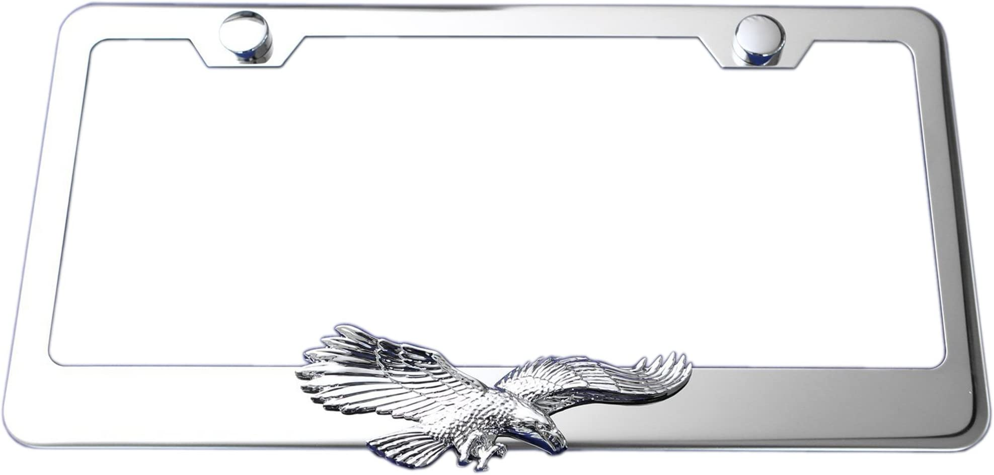 eagles never flock they sore alone chrome license plate frame usa made