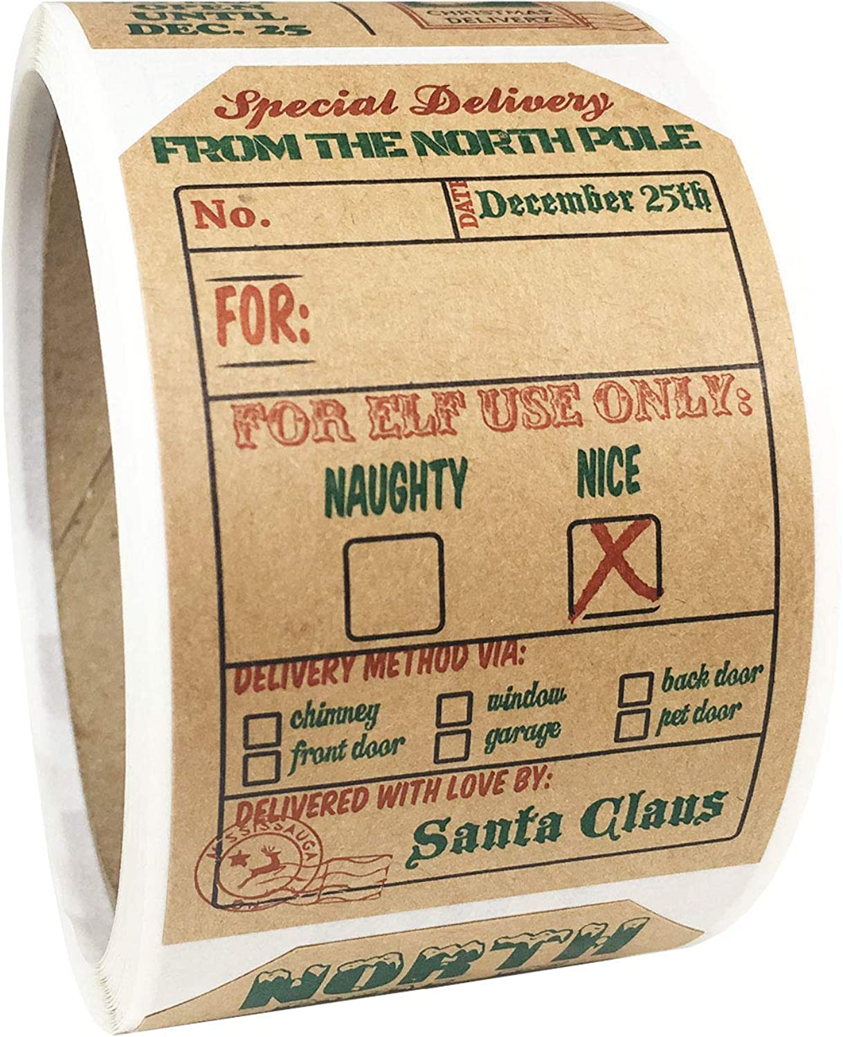Natural Kraft from Santa Christmas Gift Tags Holiday Present Stickers 4 Different Designs 2 x 3 Inch 100 Total Labels