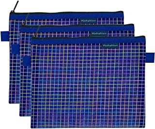 Zipper Bags, 6 PCS 3 Sizes, Mesh Zipper Pouch Clear Zipper Pouch Small Organizer bag Zipper Folder Bag Cosmetic Bags Travel Storage Bags,6 Bags/Package (Blue-A5-3PCS)