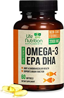 Omega 3 Fish Oil Triple Strength Concentrated 2000mg - EPA & DHA Fatty Acids - Made in USA - Non-GMO, GMP Certified, Best Fish Oil Joint Support Supplement Capsules by Life Nutrition - 60 Softgels