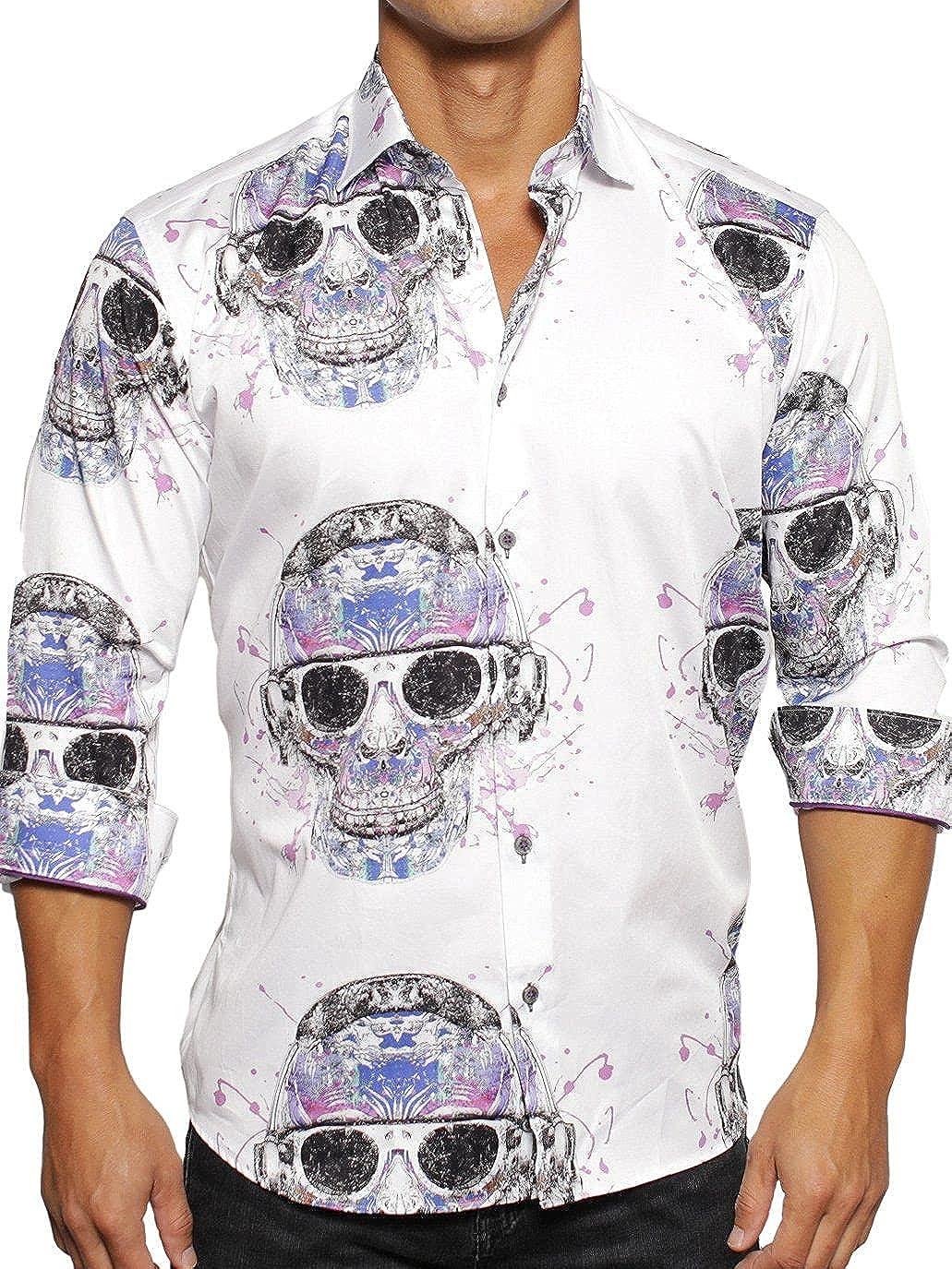 Maceoo Mens Designer Dress Shirt LS - Stylish & Trendy - Fibonacci Skull Nuts White - Shaped Fit