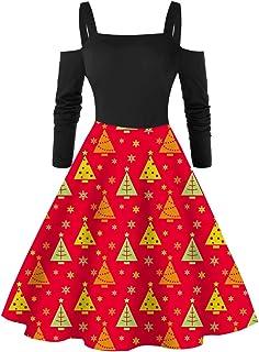 Dainzuy Women's Christmas Dress Off Shoulder Vintage 1950s Christmas Xmas Party Dresses Cocktail A-Line Swing Dress
