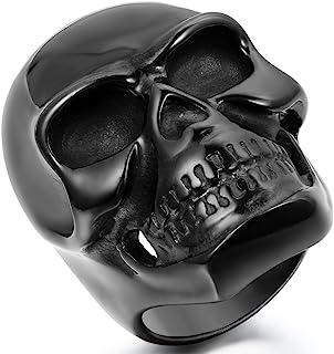 JewelryWe Gioielli Anello da Uomo Donna Acciaio Inossidabile Grande Cranio Teschio Colore Nero