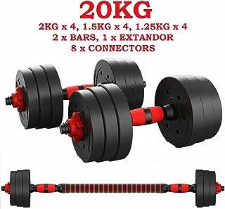 ShirazO UK - Mancuernas ajustables 2 en 1 de 20 kg, pesas para gimnasio en casa, gimnasio, ejercicio, fitness, equipo de fitness desmontable, con barra de conexión