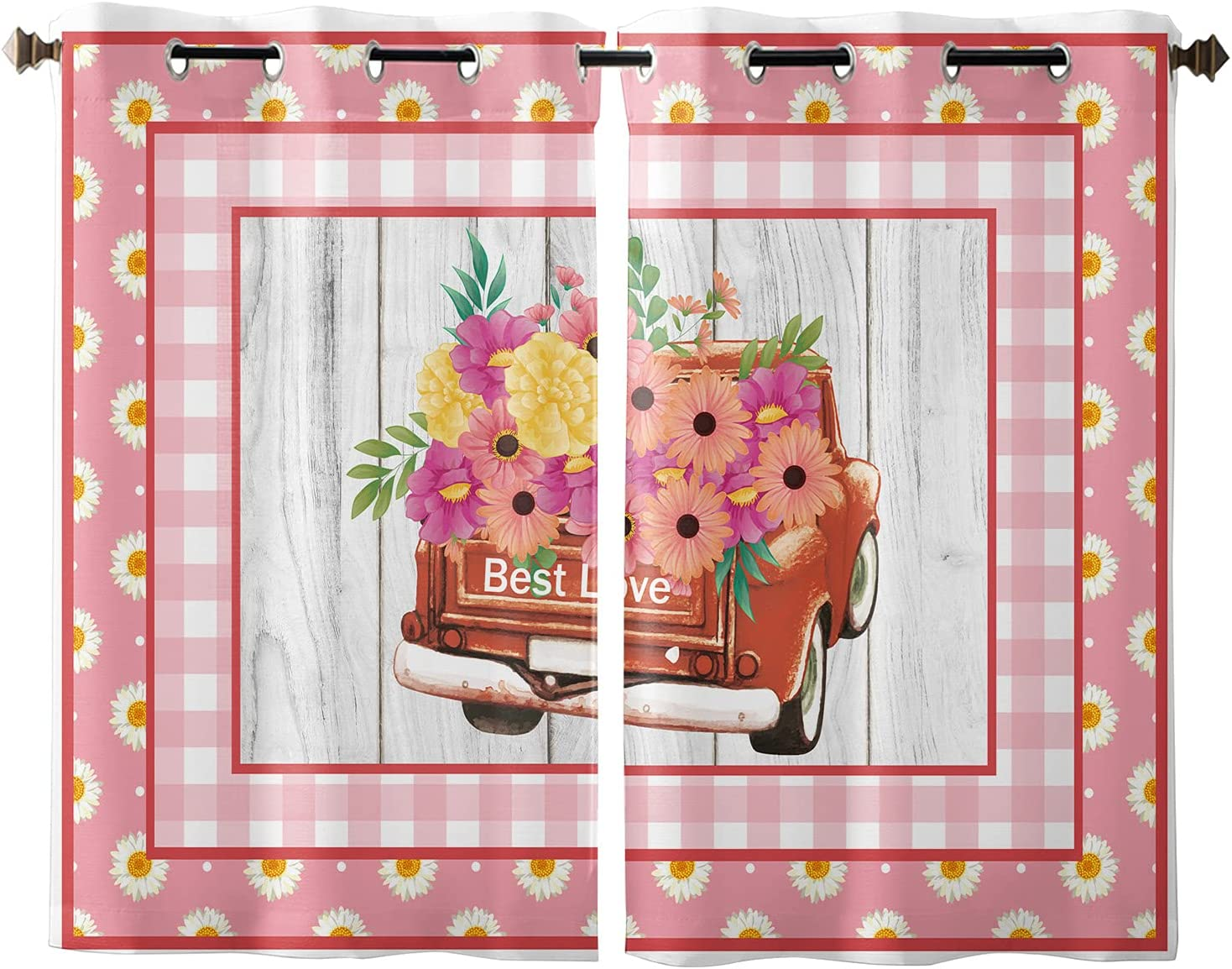 Semi Sheer Special sale item Jacksonville Mall Grommet Polyester Window with Red Truck Flow Curtains