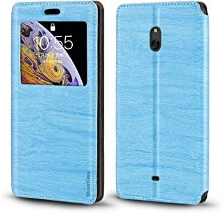 Nokia Lumia 1320 Case, Wood Grain Leather Case with Card Holder and Window, Magnetic Flip Cover for Nokia Lumia 1320