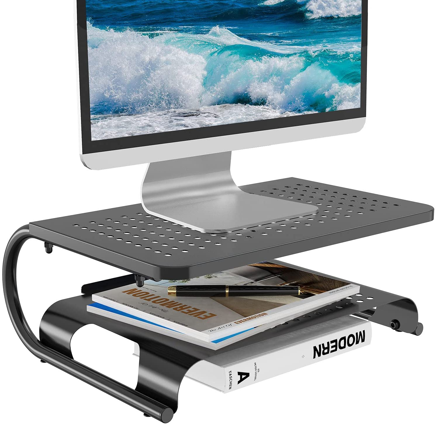 WALI Monitor Riser Desktop Stand with Vented Metal and 2 Tier Desk Organizer Stand for Computer, Laptop, LED, LCD, OLED Flat Screen Display, and Printer (STT001B), Black, 1 Pack
