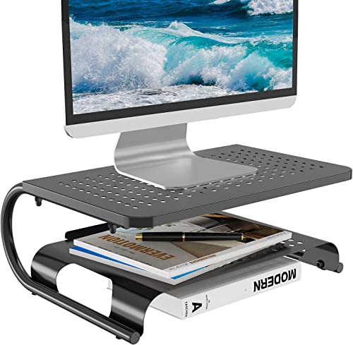 Monitor Riser Desktop Stand with Vented Metal and 2 Tier Desk Organizer Stand for Computer, Laptop, LED, LCD, OLED Fl...