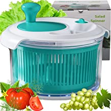 PREMIUM Salad spinner, salad spinners best rated with POWERFUL mechanical wheel for fast salads prep-Diameter 8 INCH