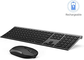 Wireless Keyboard and Mouse, Vssoplor 2.4GHz Rechargeable Compact Quiet Full-Size Keyboard and Mouse Combo with Nano USB Receiver for Windows, Laptop, PC, Notebook-Dark Gray