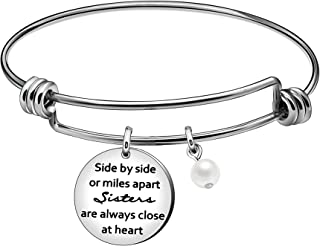 JQFEN Side by Side or Miles Apart Sisters are Always Close at Heart Sister Bangle Bracelet Sister Jewelry Christmas Birthday Gifts for Sisters